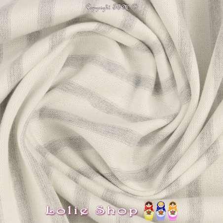 Jersey Coton Maille Bloqué Tissé Rayures Couleur Grise
