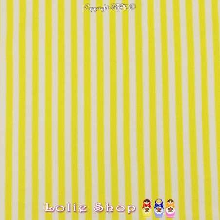 Jersey Coton Imprimé Motif Fines Rayures Jaune Chartreuse & Blanches