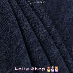 Tricot Maille Fine Entrelacées Gamme BLOOM LITE Bleu Marine Chiné