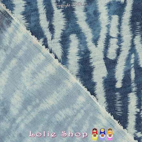 Jeans Tencel Coton Effet Denim Imprimer Zèbre