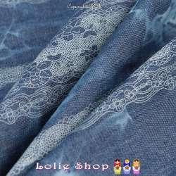 Tissus Coton Effet Jeans Denim Imprimer Galon de Fine Dentelle