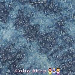 Tissus Coton Effet Jeans Denim Imprimé Fleuris Ton Foncé