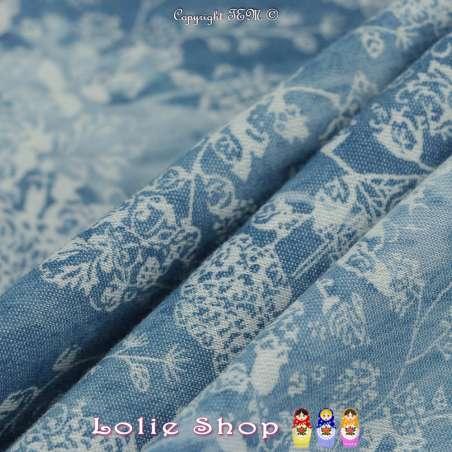 Tissus Coton Effet Jeans Denim Imprimé Rose Ton Clair