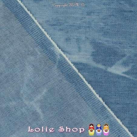 Tissus Coton Effet Jeans Denim Imprimé Taches Ton Clair