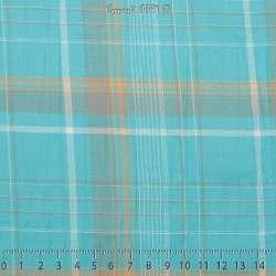 Gaze de Coton Imprimé Tartan Ton Bleu Turquoise - Photo 15x15 Cm