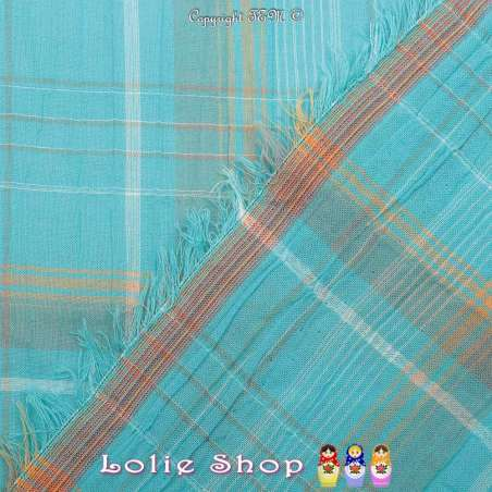 Gaze de Coton Imprimé Tartan Ton Bleu Turquoise