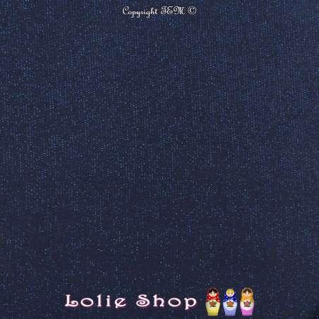 Jersey BISOU Uni Noir Surpiqures Métallisés Couleur Bleu