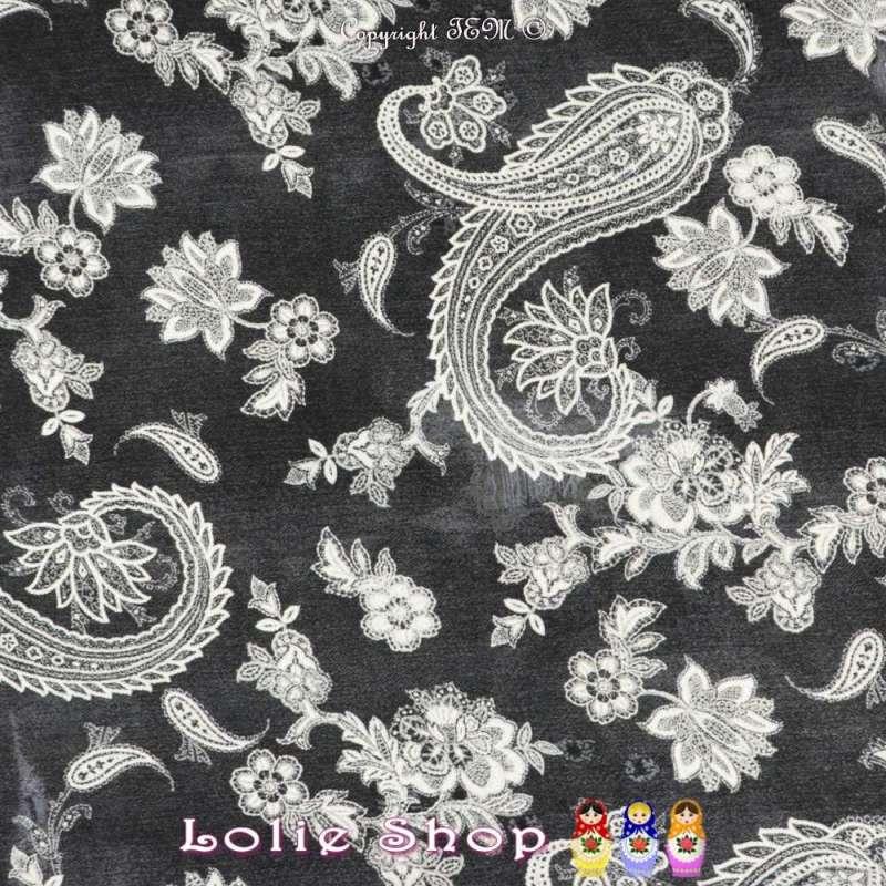 Jersey Maille LIVERPOOL Motif Paislay / Cachemire en Gomme de couleur Blanche Sur Fond Noir Chiné