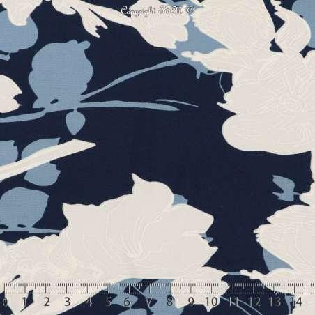 Jersey Cristal Gomme GENA Imprimé Thème Fleuris Bleu Ciel Fond Marine