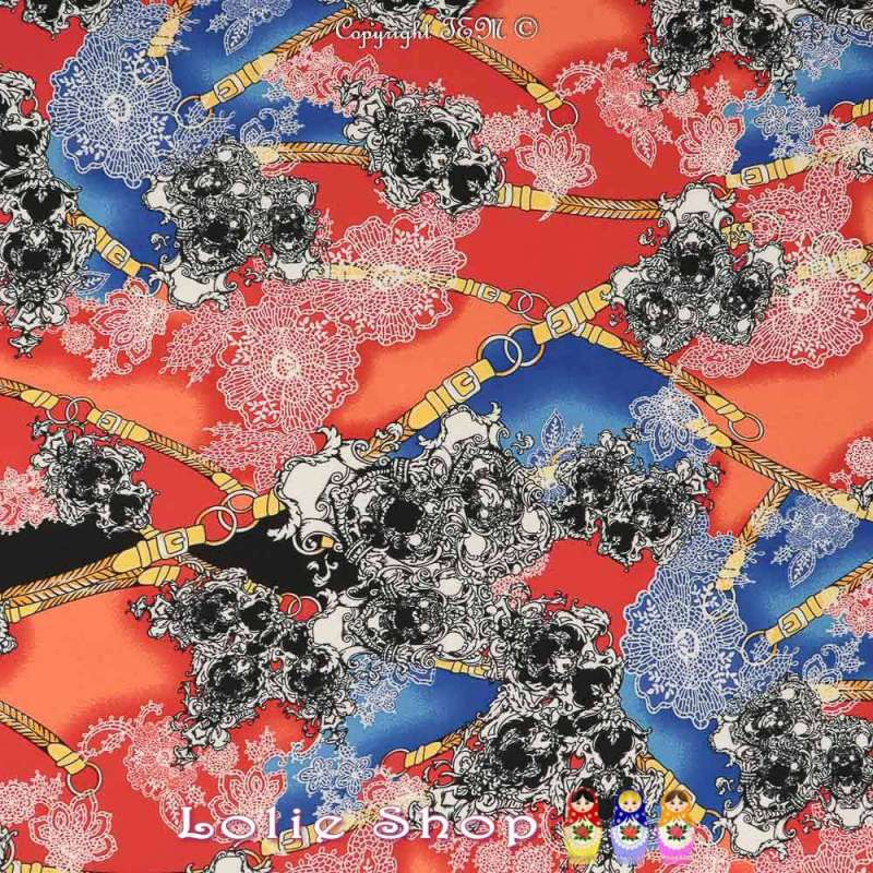 Jersey Cristal PAOLINA Imprimé Bohème Fond Rouge Garance