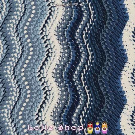 Jersey Cristal CALIENTE Gomme Imprimé Vague Nuance de Bleu