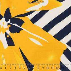 Jersey Cristal ANADELLA Imprimé Thème Été Marin Nuance de Jaune Fond Marine. 15 x 15 Cm Photo