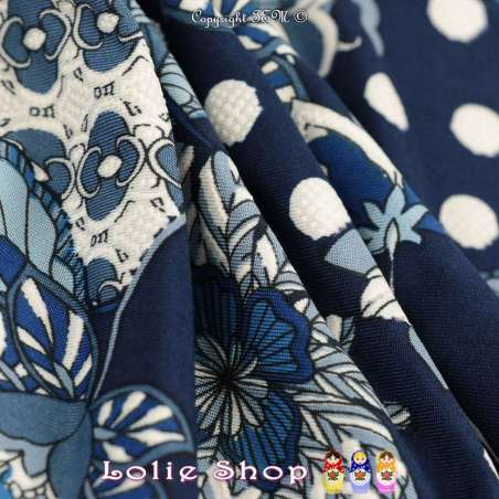 Jersey Cristal ROSY Gomme Imprimé Fleuris Bleu Effet Dentelle Fond Marine