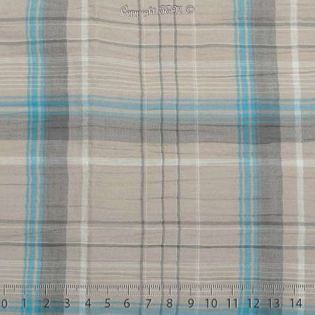 Gaze de Coton Imprimé Tartan Ton Gris tourterelle - Photo 15x15 Cm