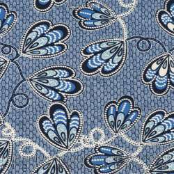 Jersey Cristal WANYA Gomme Imprimé Thème Ailes Papillons Fond Ruche Nuance Bleu. 15 x 15 Cm Photo.