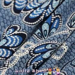 Jersey Cristal WANYA Gomme Imprimé Thème Ailes Papillons Fond Ruche Nuance Bleu