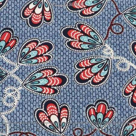 Jersey Cristal WANYA Gomme Imprimé Thème Ailes Papillons Colorés Fond Ruche Bleu. 15 x 15 Cm Photo.