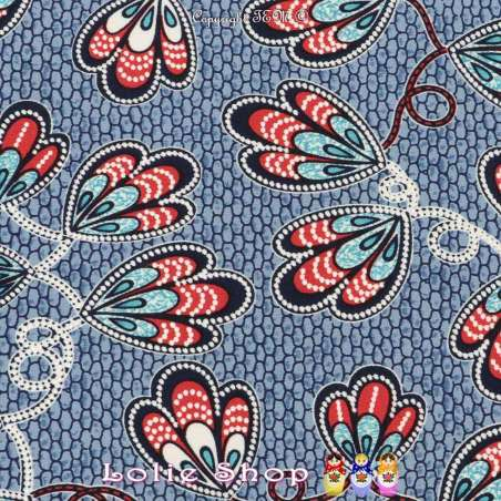 Jersey Cristal WANYA Gomme Imprimé Thème Ailes Papillons Colorés Fond Ruche Bleu