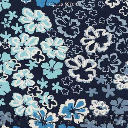 Jersey Cristal ELODIE Gomme Imprimé Thème Pensées Nuance Bleu Fond Marine. 15 x 15 Cm Photo.