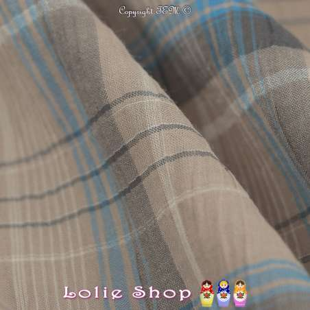 Gaze de Coton Imprimé Tartan Ton Gris tourterelle
