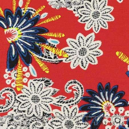 Jersey Cristal CAROLE Gomme Imprimé Fleuris Fluo Effet Broder Fond Rouge. 15 x 15 Cm Photo.