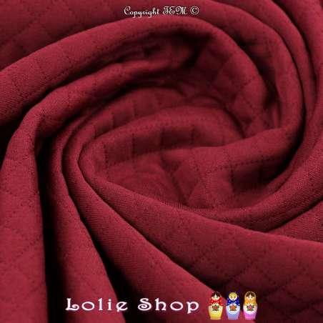 Tissu Jersey Matelassé Losanges Couleur Bordeaux