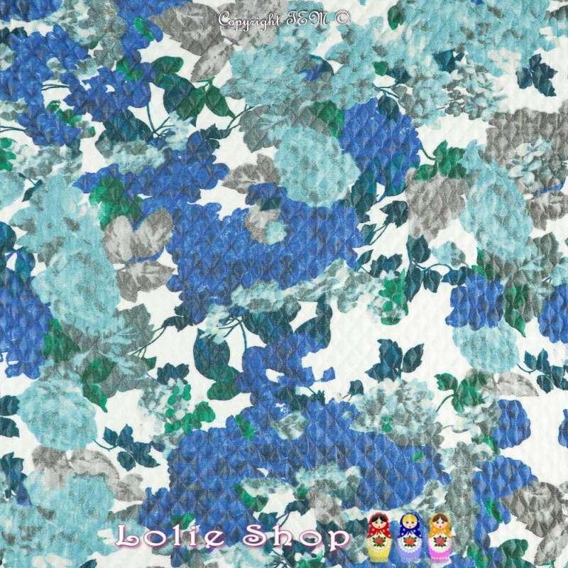 Tissu Jersey Matelassé Imprimé Floral Nuance de Bleu