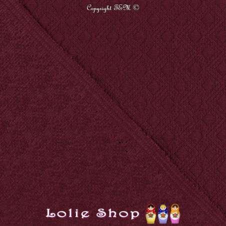 Tissu Jersey Matelassé Losanges Et Zigzag Couleur Bordeaux