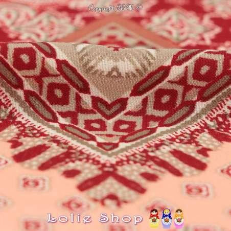Microfibre Imprimé Mozaique Thème Flocons Ton Rouge
