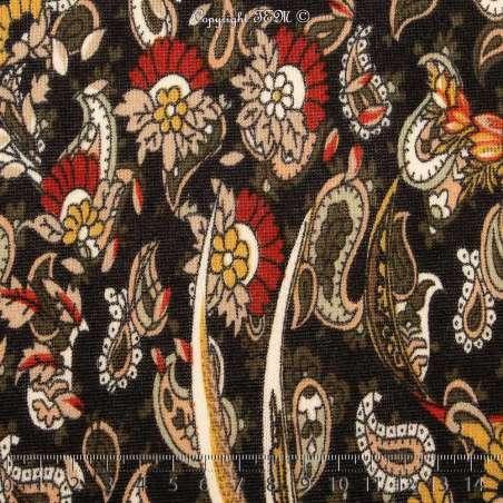 Jersey Lourd BREGUET Imprimé Motif Paisley & Floral Fond Noir - Photo 15x15 Cm
