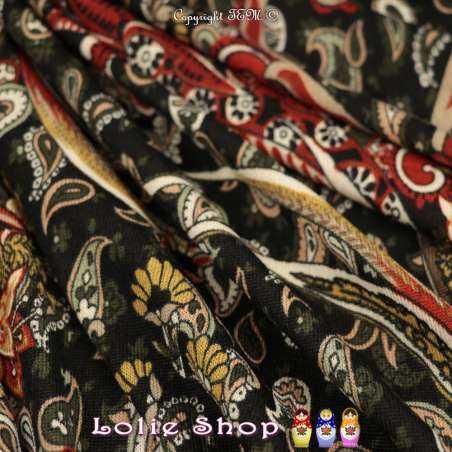 Jersey Lourd BREGUET Imprimé Motif Paisley & Floral Fond Noir