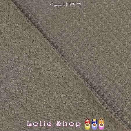Tissu Jersey Matelassé Mini Losange Couleur Taupe