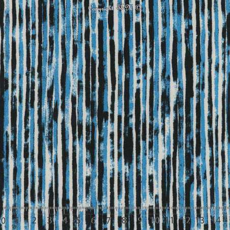 Microfibre Élasthanne Imprimé Fines Rayures Thème Savane Ton Bleu