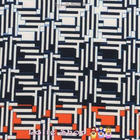 Microfibre Élasthanne Imprimé Pixels Abstrait Fond Marine