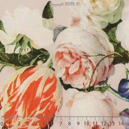 Microfibre Élasthanne Imprimé Lys Colorées Fond Rose Dragée. 151 x 15 Cm Photo.