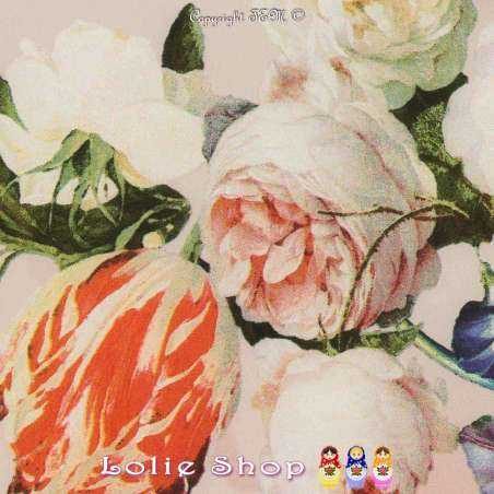 Microfibre Élasthanne Imprimé Lys Colorées Fond Rose Dragée