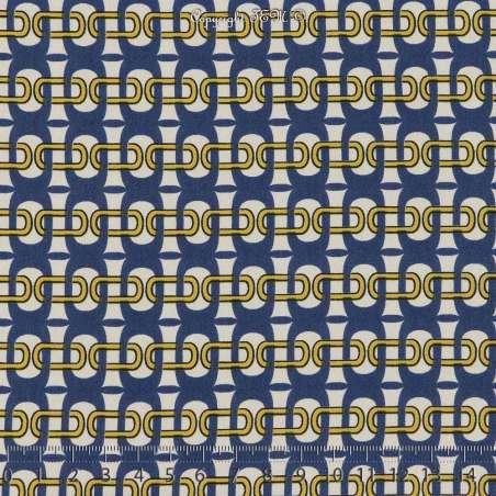 Microfibre Élasthanne Imprimé Maillons Fond Blanc. 15 x 15 Cm Photo.