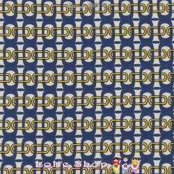 Microfibre Élasthanne Imprimé Maillons Fond Blanc