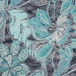 Dentelle Floqué Gomme LINA Motif Fleuris Turquoise. 15 x 15 Cm Photo