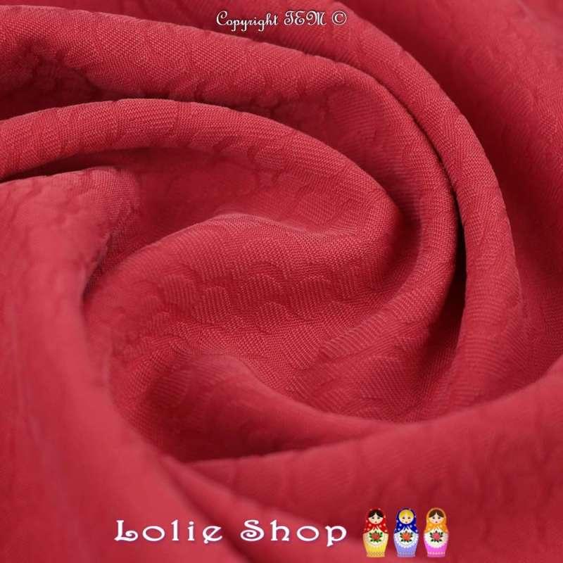 Jacquard Polyester Imprimé Effet Fleurs Couleur Rouge