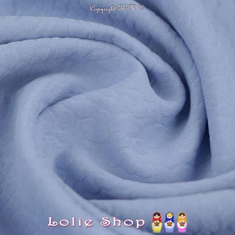 Jacquard Polyester Imprimé Effet Fleurs Couleur Bleu Ciel