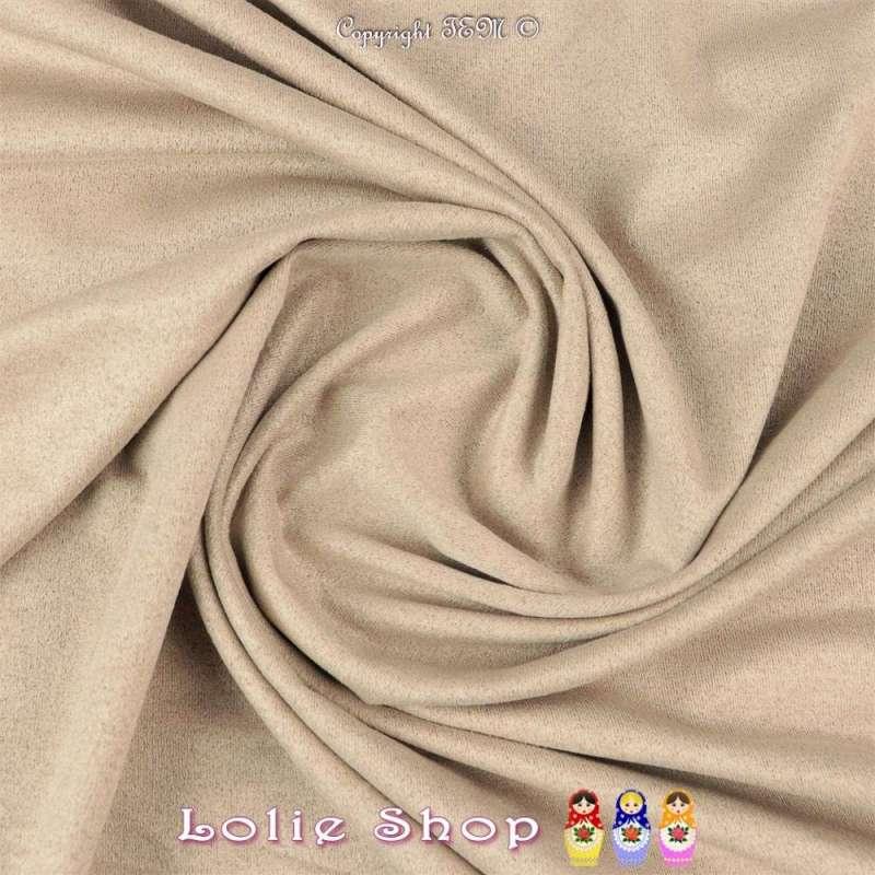 Tissu Suédine Légère / Chamoisine Uni Couleur Beige Clair