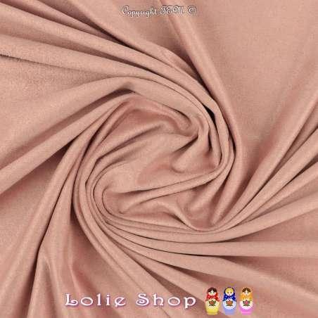 Tissu Suédine Légère / Chamoisine Uni Couleur Rose Poudré