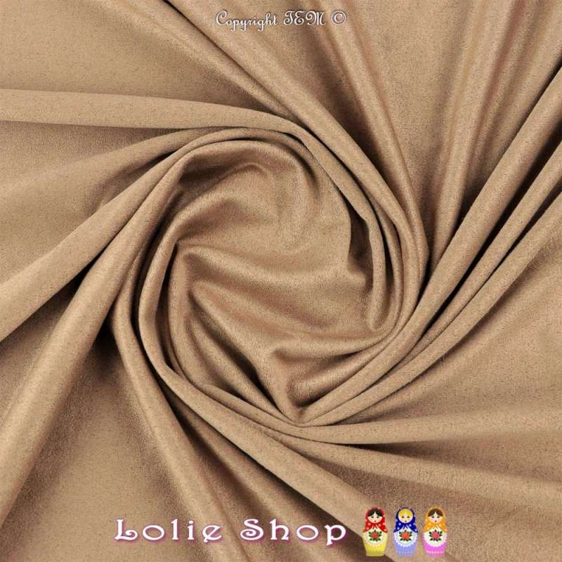 Tissu Suédine Légère / Chamoisine Uni Couleur Beige Foncé