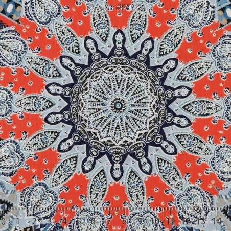 Microfibre Imprimé Mozaique Thème Flocons Ton Bleu