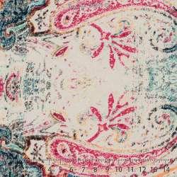 Microfibre Imprimé Colorés Chiné Thème Ethnique Fond Blanc. 15 x 15 Cm Photo.