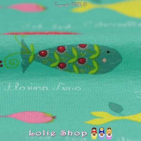 Jersey Coton Imprimé Modèle BARRACUDA Fond Turquoise