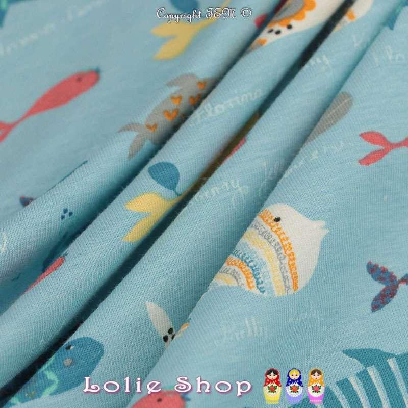 Jersey Coton Imprimé Modèle Barracuda Fond Bleu Ciel