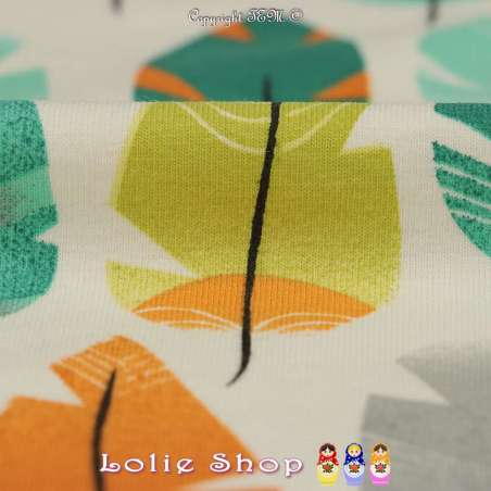 Jersey Coton Imprimé Modèle NEPO Ton Orange Fond Blanc