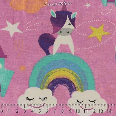 Jersey Coton Imprimé Modèle YUNI Fond Rose. 15 x 15 Cm Photo